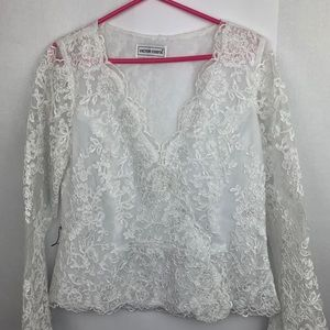 VICTOR COSTA Lace Jacket White Floral Sheer size 8